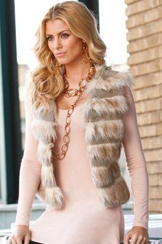 Layered faux-fur vest - Boston Proper