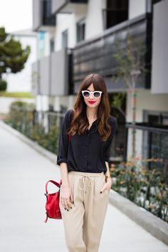 black silk blouse with karen kane khaki drawstring pants M Loves M @marmar