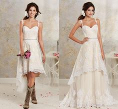 2016 New Sexy Two Pieces Wedding Dresses Spaghetti Lace A Line Bridal Gowns With Hi-Lo Short Detachable Skirt Country Bohemian Wedding Gowns