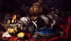 Maestro dei vasi istoriati, Vasellame e frutta su drappo rosso