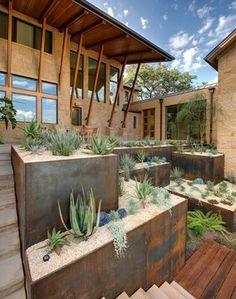 Austin, Texas house & garden by D-CRAIN Design and Construction - Cor-ten steel terraced garden - Desert garden with cacti & succulents