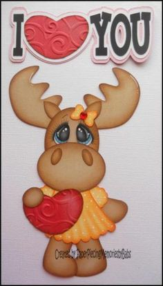 Premade I Love You Moose Girl Paper Piecing Set for Scrapbook Page by Babs | eBay
