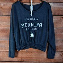 I know alot of people who needs this! This top is so adorable with the small coffee cup on the bottom! It's a hi-low style and its very comfortable! $23.98 Music City Pretty Boutique #mcpb #coffee #notamorningperson