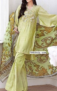 Light Green Silk Net Suit | Buy Gul Ahmed Pakistani Dresses and Clothing online in USA, UK