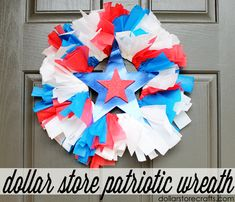fourth of july wreath from dollar store picnic supplies!