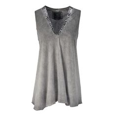 Top, Pailletten, Used-Waschung