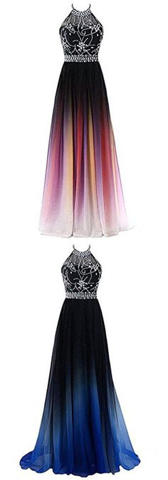 A-line Halter Gradient Chiffon Long Prom Dress Ombre Beads Evening Dresses,N662 #simibridaldresses #ombre #halter #a-line #beading #promdress #prom #formal #chiffon