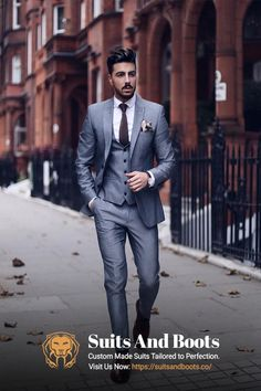 9c83f93e6b with a gray three piece suit white button up shirt brown dress shoes silk  pocket square brown