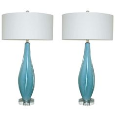 1stdibs.com   Pair of Vintage Murano Winged Lamps by Archimede Seguso in Spring Sky