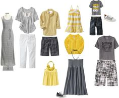 Grey/yellow family portrait outfits, created by maryrushing on Polyvore