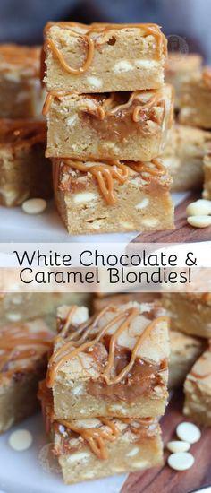 White Chocolate Blondies, White Chocolate Chips, Chocolate Caramel Slice, Chocolate Sauce Recipes, Brownie Recipes, Chocolate Food, White Chocolate Desserts, Chocolate Cakes, Delicious Chocolate