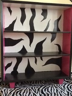 Upcycled Hand Painted Zebra Book Shelf $150 SOLD