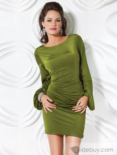Luxurious Column Scoop Long Sleeves Evening/Party Dress* love the color. Sexy seagreen