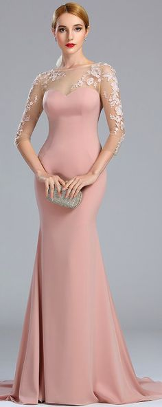 Long Sleeves Lace Pink Prom Dress Mermaid Evening Dress