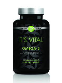 It's Vital™ Omega-3     Boost heart health, fight minor inflammation, keep those joints moving, and reclaim that youthful glow with the triple strength blend of DHA and EPA fatty acids of It's Vital Omega-3. Along with superior strength, fish oil-derived fatty acids, It's Vital Omega-3 also adds a purifying rosemary-based antioxidant blend to fight the effects of free radicals—all in an easy-to-swallow softgel with a hint of lemon flavor.      Loyal Customer Price: $23