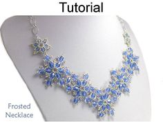 """Frosted Necklace PDF Beading Pattern #24170 Frost yourself this winter with snowflake jewelry that even an ice princess would be envious of. Forming a beautiful """"V"""" shape, this gorgeous glistening snowflake necklace, part of my new """"Frosted"""" collection, features 8"""" of dazzling"""