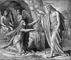 ~APARICIÓN DE JESÚS A MARÍA MAGDALENA  Al decir esto se dio vuelta y vio a Jesús, que estaba allí, pero no lo reconoció.  Jesús le preguntó: «Mujer, ¿por qué lloras? ¿A quién buscas?». Ella, pensando que era el cuidador de la huerta, le respondió: «Señor, si tú lo has llevado, dime dónde lo has puesto y yo iré a buscarlo».  Jesús le dijo: «¡María!». Ella lo reconoció y le dijo en hebreo: «¡Raboní!», es decir «¡Maestro!».  Jesús le dijo...  (Jn. XX, 14-17)