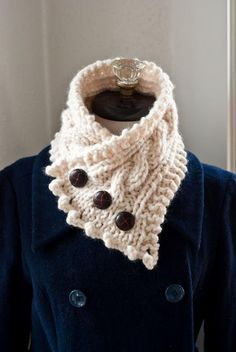 knit a fisherman's wife collar,/ neck warmer