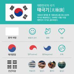 한국의 국기! 자랑스러운 태극기죠~ 오늘은 태극기의 의미를 알아보아요!! 간단한 한장의 인포그래픽으로 확인해보기^^