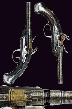 A fine pair of flintlock travelling pistols by Perrin Freres, France 19th…