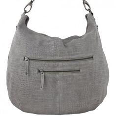 """Die trendige """"Medium Cross over"""" Tasche mit Reptilprägung in elegantem Grau aus dem Hause DEPECHE ist aus exklusivem Wildleder gefertigt. Versandkostenfrei bei melovely.de"""