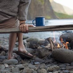 3 things I love. Coffee, campfire, and lake.