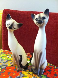 Pair of Decorative Siamese Cat Figurines by junkntrunk21 on Etsy, $45.00