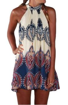 PAKULA Women's Sleeveless Vintage Printed Ethnic Style Casual Dress, Blue, Small…