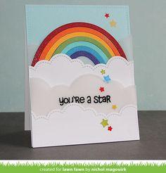 """nichol magouirk: LAWN FAWN Rainbow + Puffy Cloud Borders   """"You're A Star"""" Card (video)"""