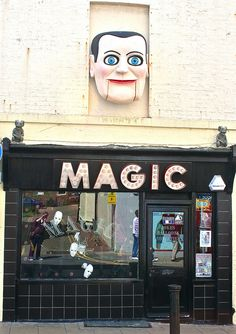 Magic shop, Brighton.  This is beyond creepy!  That thing above the door looks like it's going to come alive and wreak havoc!!