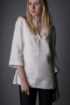 Pure Linen Tunic with Rose Decor // LGlinen // Etsy