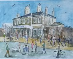 'Teddington Railway Station' - print taken from watercolour.  Teddington, Richmond, London.  By London-based artist, Caroline Sayer See more at: www.carolinesayer.co.uk