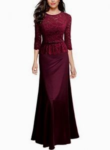 f1662a271d2e Miusol Damen Abendkleid 3 4 Arm Elegant Spitzen Kleid Brautjungfer Langes  Cocktailkleid Weinrot Gr.