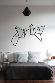 Nice Deco Chambre Washi Tape that you must know, You?re in good company if you?re looking for Deco Chambre Washi Tape Tape Wall Art, Tape Art, Diy Wall Art, Decorating Your Home, Diy Home Decor, Washi Tape Diy, Duct Tape, Washi Tape Mural, Washi Tape Headboard
