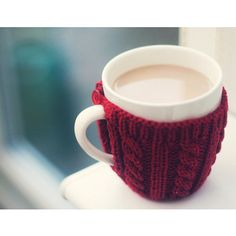 Knit Mug Koozie. @amy jones I bet I could find a crochet pattern for this. ;-)