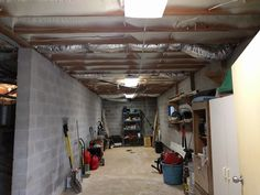 This basement garage had mice falling from the ceiling, now all the old insulation was removed and clean spray foam insulation was sprayed!!