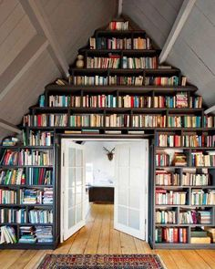 Amazing home library. French doors look good too! #DoorSpotting