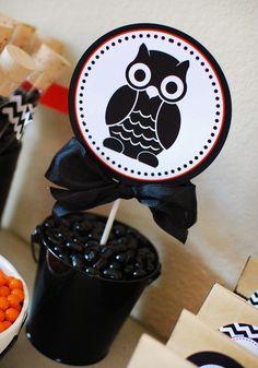 Modern Black, White & Chevron Halloween Party