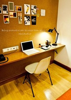 Love this narrow desk and modern office space vs our giant corner desk