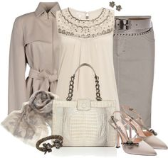"""Beaded Grey"" by corenna-obrien ❤ liked on Polyvore"