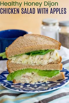 Honey Dijon Chicken Salad - with the crunch of apples, tangy mustard, Greek yogurt, this healthy chicken salad recipe is great for sandwiches, pitas, on a bed of greens, or in lettuce wraps! Protein-packed and gluten free. Healthy Sandwich Recipes, Chicken Sandwich Recipes, Leftover Chicken Recipes, Yogurt Chicken Salad, Chicken Salad With Apples, Honey Dijon Chicken, Mustard Chicken, Costco Rotisserie Chicken, Kale Chip Recipes