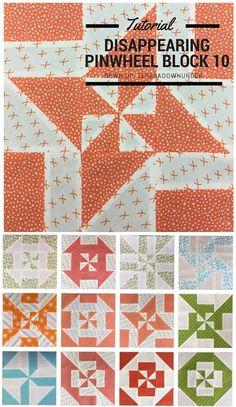 Block 10: Disappearing pinwheel quilt sampler - free tutorial