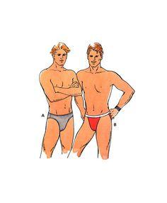 Kwik Sew 2224 Men's Double Front, High Cut Leg Briefs in Two Styles, Uncut, Factory Folded, Sewing Pattern Multi Waist Size Kwik Sew Patterns, Men's Briefs, High Cut, 1990s, Stamp, Knitting, Crochet, Handmade, Stuff To Buy