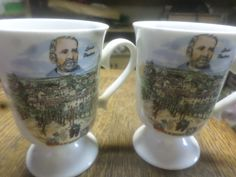 French Footed Mugs  Louis Pasteur Souvenir by JanniesJunkandJems