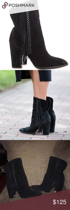 "Dolce Vita ""Ileen"" Boots These beauties are black suede with fringe and in perfect condition!! They were worn only a couple of times and are very comfortable. Dolce Vita Shoes"