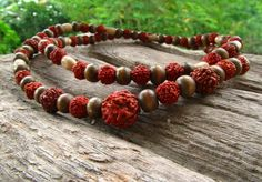 Rudraksha Mala Necklace also with Wooden beads / by cainersbliss
