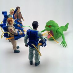 Vintage The Real Ghostbusters G1 Figures Kenner Toys 1984 Columbia Pictures Slimer Ray Peter Winston Egon with Proton Packs