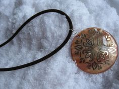 Large Brown  Peach Color Mother of Pearl Shell by JetRavenBlack, $5.00