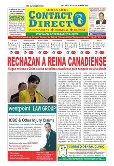 SEMANARIO CONTACTO DIRECTO EDICIÓN 4 DE DICIEMBRE  PERIÓDICO CONTACTO DIRECTO EDICIÓN 4 DE DICIEMBRE 2015 VANCOUVER  CANADA.