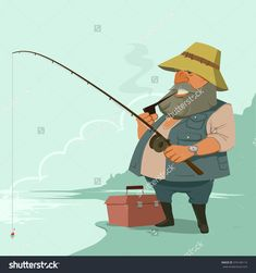 Fisherman With Fishing Rod, Fishing Equipment, Cartoon Character With Pipe, Vector Illustration - 374146114 : Shutterstock